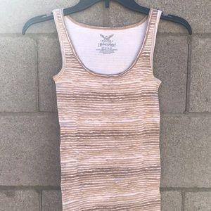 ☀️ Tan & White Striped Tank Top
